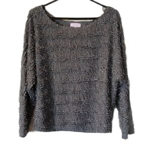 Romeo and Juliet Couture Gray Fringe Top
